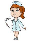 Enfermera de la historieta con la tableta en blanco Imagenes de archivo