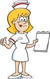Enfermera de la historieta con un tablero Imagen de archivo