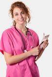 Enfermera de los jóvenes con la carta Imagen de archivo