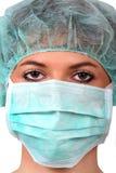 Enfermera de sexo femenino en el fondo blanco. Imagen de archivo libre de regalías