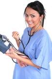 Enfermera de sexo femenino linda, doctor, trabajador médico imagenes de archivo
