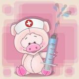 Enfermera del cerdo ilustración del vector