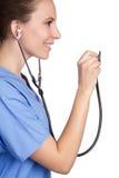 Enfermera del estetoscopio imagen de archivo libre de regalías