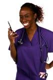 Enfermera del teléfono celular imagen de archivo libre de regalías