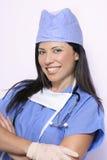 Enfermera en azul imagen de archivo