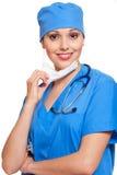 Enfermera en uniforme azul Fotografía de archivo