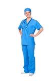 Enfermera en uniforme azul Fotos de archivo libres de regalías
