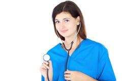 Enfermera linda feliz en uniforme azul Imagen de archivo