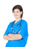 Enfermera linda feliz en uniforme azul Foto de archivo