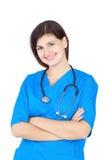 Enfermera linda feliz en uniforme azul Imágenes de archivo libres de regalías