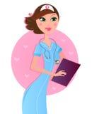 Enfermera marrón atractiva sonriente del pelo Imágenes de archivo libres de regalías