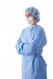 Enfermera o sugeon estéril que mira a la cara Imagen de archivo
