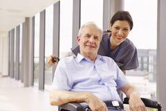 Enfermera Pushing Senior Patient en silla de ruedas a lo largo del pasillo Imagenes de archivo