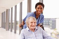 Enfermera Pushing Senior Patient en silla de ruedas a lo largo del pasillo Foto de archivo