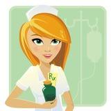 Enfermera que lleva a cabo la medicina en la botella fotos de archivo