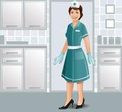 Enfermera que se coloca en uniforme en una clínica libre illustration
