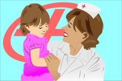 Enfermera y cabrito Imagen de archivo libre de regalías
