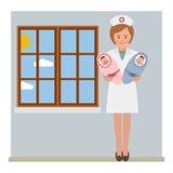 Enfermera y los gemelos Fotografía de archivo libre de regalías
