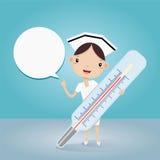 Enfermera y termómetro en la presentación Foto de archivo