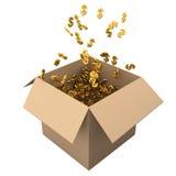 Enfermez dans une boîte complètement des dollars Photo libre de droits
