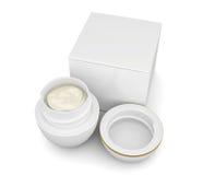 Enfermez dans une boîte et ouvrez le pot de crème sur le fond blanc rendu 3d Images libres de droits