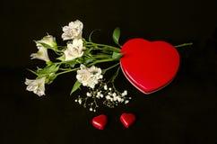 Enfermez dans une boîte le coeur avec le bouquet des fleurs blanches sensibles Images libres de droits