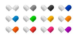 Enfermez les capsules de pilule ouvertes dans deux halfs brillants photos stock