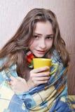 Enfermo de la muchacha en cama Imagen de archivo libre de regalías