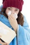 Enfermo de la mujer con gripe Fotografía de archivo libre de regalías