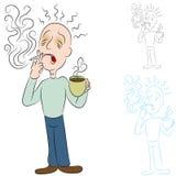 Enfermo del café y de los cigarrillos ilustración del vector