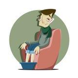 Enfermo del hombre con la gripe Imagen de archivo