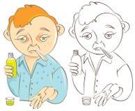 Enfermo del hombre con la ilustración de la gripe Imágenes de archivo libres de regalías