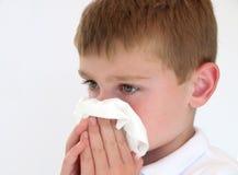 Enfermo del muchacho Imagenes de archivo