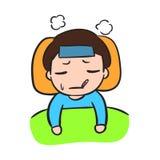 Enfermo del niño pequeño ilustración del vector