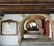 Enfilade of the arches in the Basque town La Bastida-Clairence Stock Photography