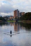 Enfileiramento do homem no rio Torrens Imagem de Stock Royalty Free