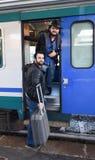 Enfin le train est ici Photographie stock libre de droits