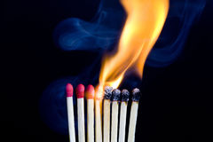 Enflammer des allumettes Photo libre de droits