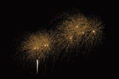 Enfoca adentro la demostración de los fuegos artificiales Fotografía de archivo libre de regalías