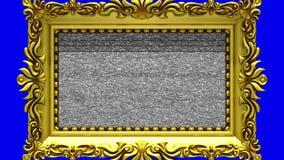 Enfoque de la cámara en el marco del oro en fondo azul El ruido de la TV y la croma verde cierran juegos en la pantalla 3d ilustración del vector