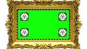 Enfoque de la cámara en el marco del oro en el fondo blanco, movimiento que sigue a los marcadores, pantalla verde libre illustration