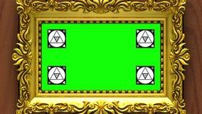 Enfoque de la cámara en el marco del oro en fondo de la madera marrón Movimiento que sigue los marcadores y la pantalla verde inc ilustración del vector