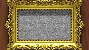 Enfoque de la cámara en el marco del oro en fondo de la madera marrón El ruido de la TV y la croma verde cierran juegos en la pan libre illustration