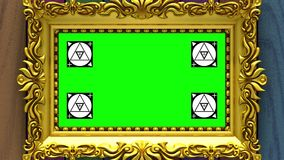 Enfoque de la cámara en el marco del oro en fondo de la madera varicolored Movimiento que sigue los marcadores y la pantalla verd ilustración del vector