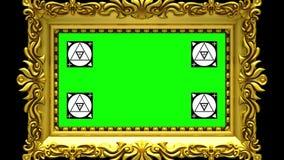 Enfoque de la cámara en el marco del oro en fondo negro Movimiento que sigue los marcadores y la pantalla verde incluidos 3d stock de ilustración