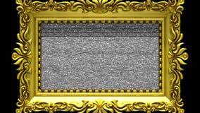 Enfoque de la cámara en el marco del oro en fondo negro El ruido de la TV y la croma verde cierran juegos en la pantalla 3d stock de ilustración