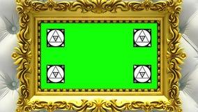 Enfoque de la cámara en el marco del oro en fondo de la tapicería blanca de lujo Movimiento que sigue los marcadores y verde libre illustration