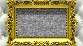 Enfoque de la cámara en el marco del oro en fondo de la tapicería blanca de lujo El ruido de la TV y la croma verde cierran juego libre illustration