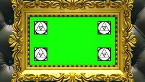 Enfoque de la cámara en el marco del oro en fondo de la tapicería negra de lujo Movimiento que sigue los marcadores y verde libre illustration