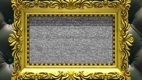 Enfoque de la cámara en el marco del oro en fondo de la tapicería negra de lujo El ruido de la TV y la croma verde cierran juegos libre illustration